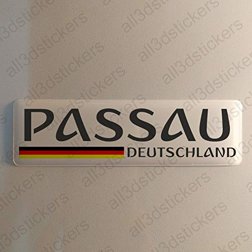 Preisvergleich Produktbild Passau Deutschland Aufkleber Passau 120x30mm Autoaufkleber Flagge 3D Fahne Germany
