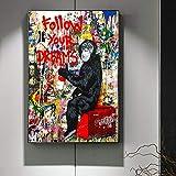 mmzki Folgen Sie Ihren Träumen Street Wall Graffiti Kunst Leinwand Gemälde abstrakte Einstein Pop-Art Leinwanddrucke für Kinderzimmer Dekor 40X60CM