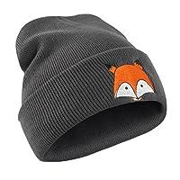 Webla Fox Pattern Embroidery Hat Unisex Winter Warm Knitted Soft Cap Hats (Dark Gray)