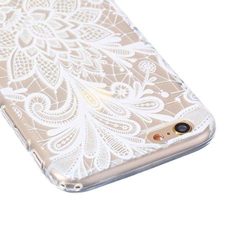 Pheant® [3 in 1] Coque Gel pour Apple iPhone 6/6S Étui Housse de Protection TPU Doux Antidérapant Cas avec Stylet et Bouchon Anti Poussiere(Blanc Rosé) Blanc Rosé