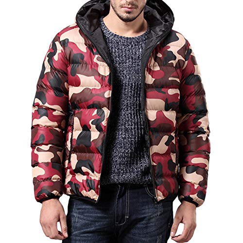 OHQ Herren Winter Jacke Mantel Outwear Camouflage Slim Trench Reißverschluss Caps Mantel Kapuzen Langarm Daunenjacke Mode warm hoch...