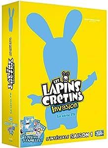 Coffret Lapins Crétins l'Invasion, Intégrale de la saison 1 (parties 1, 2, 3 & 4 + le jeu de cartes des 7 familles lapins crétins) EDITION très LIMITEE