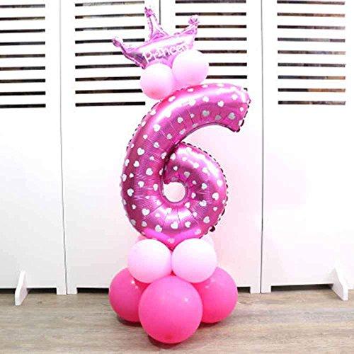 Globos para fiesta de princesa, tamaño grande, globos con número de papel de aluminio, decoración de boda, fiesta de cumpleaños 6 rosa