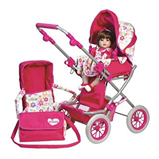 Adora Doll Accessories Adjustable Handle Deluxe Stroller with free Diaper & Carriage Bag for Kids 2 years & up by Adora