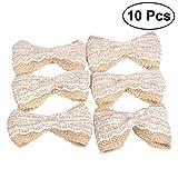 LUOEM Set di fiocchi di tela da imballaggio di tela da imballaggio Fiori di iuta di pizzo Iuta Archi Abbellimenti per l'artigianato fai da te Matrimoni Decorazione del partito, confezione da 10