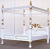 MOREKO Himmelbett Massiv-Holz Mahagoni Bett 180 x 200 cm Antik-Stil weiß - Gold