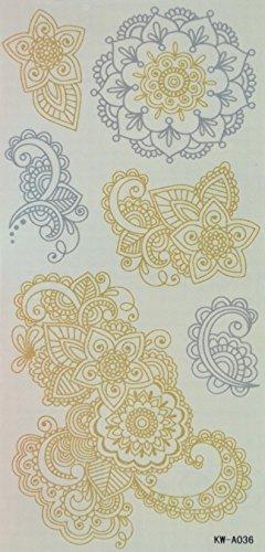 Spestyle Hippy-Tattoos indische und mittel Easten Blumen Silver und Golden Glitter Tattoo-Aufkleber