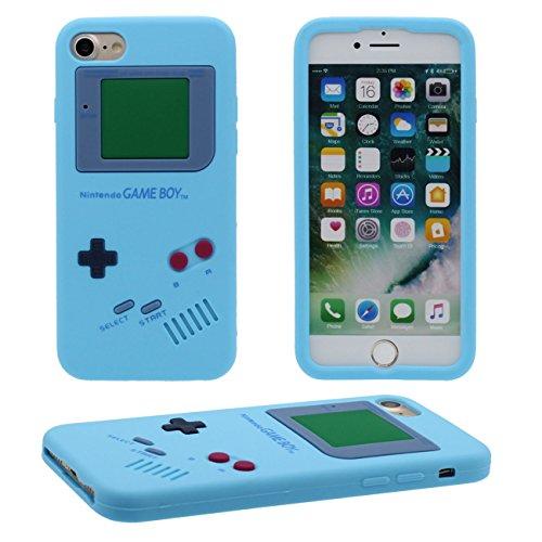 iPhone 7 Hülle, Dünn & Leicht Prämie Weich Silikon Kunststoff Original Klassisch Game Boy 3D Gestalten Serie Schutzhülle Case Anti-Schock für Apple iPhone 7 4.7 inch cyan