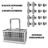 Cestello posate lavastoviglie universale adattabile Rex Electrolux Zanussi Aeg Bosch + 8 Ruote Cesto Superiore + 8 Ruote Cesto Inferiore - ADATTO FIGEVIDA