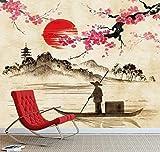3D Wandtattoo Wandtattoo Schlafzimmer Wandstickerlandschaft Mit Fischer Auf See Traditionelle Japanische Aquarell-Hintergrund-Wand-Wandbild-Fototapete