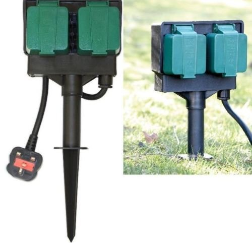 Unibos 2 Way Garden 4m Cable Extension Twin Socket with Stand Outdoor Waterproof Lead Test