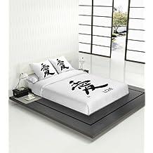 TSUKI Juego Funda Nórdica KORE cama 150 negro/blanco/ Zen Chillout