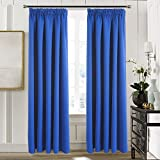 "Pencil Pleat Blackout Curtains Panels - Aquazolax Readymade Window Treatment Thermal Insulated Room Darkening Curtains for Bedroom, 66""x72""(167cm W x 182cm L), Royal Blue, 2 Panels"