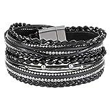StarAppeal Armband Wickelarmband mit Perlen, Strass, Ketten und Flechtelement, Magnetverschluss Silber Matt, Damen Armband (Schwarz)