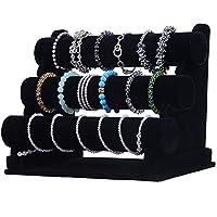 XHONG Velvet Bracelet Display Holder Stand,3-Tier Detachable Velvet Bracelet Holder Bangle Watch Display Organizer Rack Storage Holder