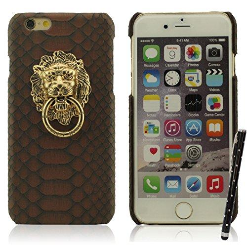 iPhone 7 Hülle Case Bumper Hart Kunststoff Gel Schutzhülle Kreativ Metall Löwenkopf / Ring Halter Dünn Licht Handyhülle für Apple iPhone 7 4.7 inch X 1 Stylus-Stift braun