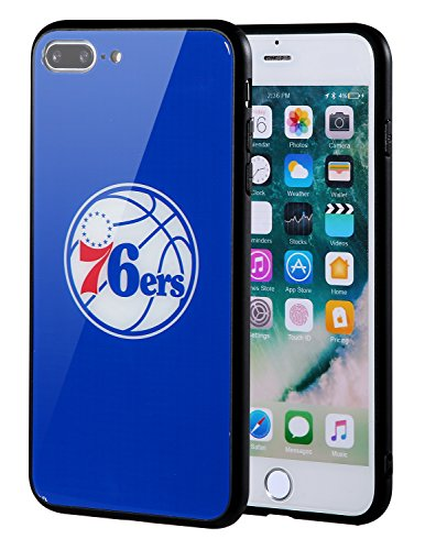 Die Masse iPhone 8Plus Fall, iPhone 7Plus Fall, NBA Team Logo auf gehärtetem Glas Backcover und Soft TPU Rahmen für iPhone 8Plus/7Plus, Philadelphia 76ers, 5.5 inch - Team-logo Iphone Fall