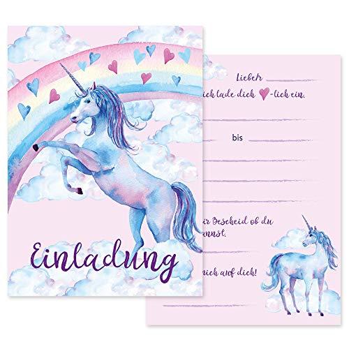 Schöne Einladungskarten zum Kindergeburtstag mit Einhorn/Unicorn Motiv, Geburtstagseinladungen/Einladungen Karten Set für Geburtstagsparty Kinder Erwachsene Mädchen mit Einladungstext (9)