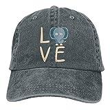 Fashion Home Adults Love Elephant Adjustable Casual Cool Baseball Cap Retro Cowboy Hat Cotton Dyed Caps Unisex Asphalt