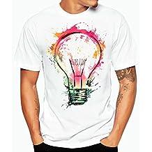 Camisa Hombre, Camisetas casuales de impresión de tallas grandes verano Camiseta de manga corta de algodón niños Tees Tops blusa deportivas Pollover Camiseta Térmica de Compresión Amlaiworld (Blanco, M)