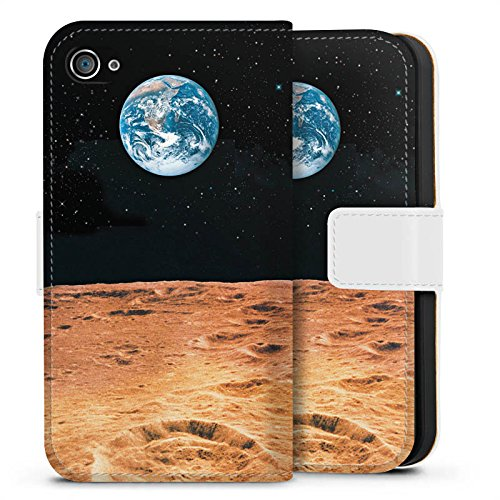 Apple iPhone X Silikon Hülle Case Schutzhülle Erde Mond Moon View Sideflip Tasche weiß