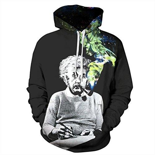 (BYWLHNB Männer & Frauen Hoodies Paare Hip Hop Sweatshirt lustig Rauch Einstein 3D Drucken schwarzen Hoodies Trainingsanzug Unisex Harajuku Outwears, schwarz, M)