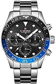 Naviforce Men's Black Dial Stainless Steel Analogue Classic Watch - NF914