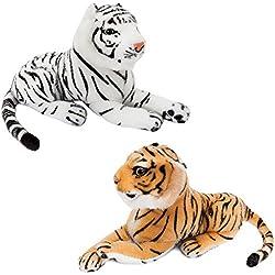 BRUBAKER 2 Peluche Tigre de Color Marrón en Blanco de 25 cm