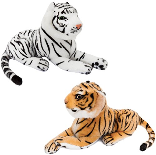 2er Set BRUBAKER Tiger weiß und braun ca. 25 cm Stofftier Plüschtier (Stofftier Tiger Weißer)
