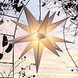 Außenstern Stern Adventsstern weiss - ca. 55 cm beleuchteter Stern Weihnachtsstern Leuchtstern Faltstern - hochwertige Verarbeitung, Leuchtmittel Glühbirne 15 Watt