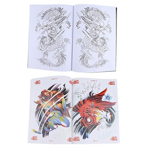 Sharplace 2x tatuaggi orientali manoscritto per body art flash manoscritti di riferimento libri tatuaggio con pattern dragon e carpa