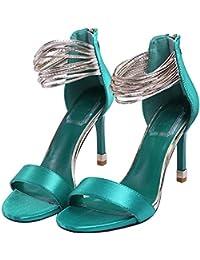 Onfly Frau Süß Mode Macaron Schuhe Leder X-Strap Hohl Sandalen Pumps Flache Schuhe , green , 39