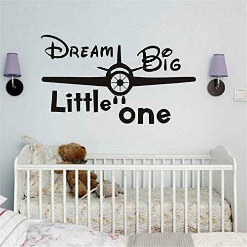 Stickers Muraux Inspiring Phrases Home Art Decor Decal Mural Dream Big Little One Airplane For enfants Kids Room