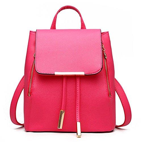 Zainetto da donna, borsa a spalla, in similpelle, da viaggio Red