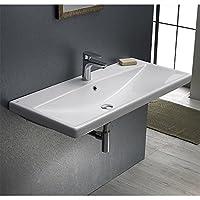Cerastyle 032400-U-ONE delik Elite dikdörtgen seramik Duvara monte/kendi Rimming lavabo, beyaz