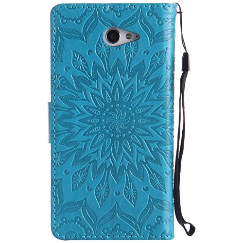 Custodia Sony Xperia M2 - Cover Sony Xperia M2 - ISAKEN Accessories Cover in PU Pelle Bronzing Oro farfalla Leather Custodia Rigida Libro Bookstyle Wallet Flip Portafoglio Copertura Anti Slip Protezio girasole: blu