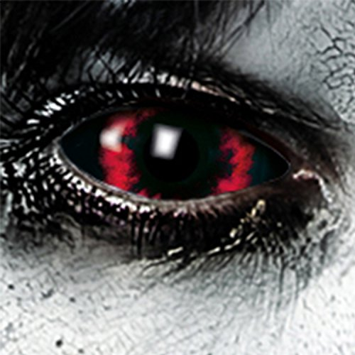 Funlinsen Red Demon Sclera-Markenqualität- 1 PAAR-D-22mm-rot-schwarze Linsen,Cosplay, Larp, Zombie Kontaktlinsen, Crazy Funlinsen, Halloween, Fastnacht,Vampir