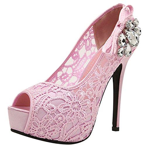 Oasap Women's Peep Toe Platform Slip on Lace Stiletto Sandals pink