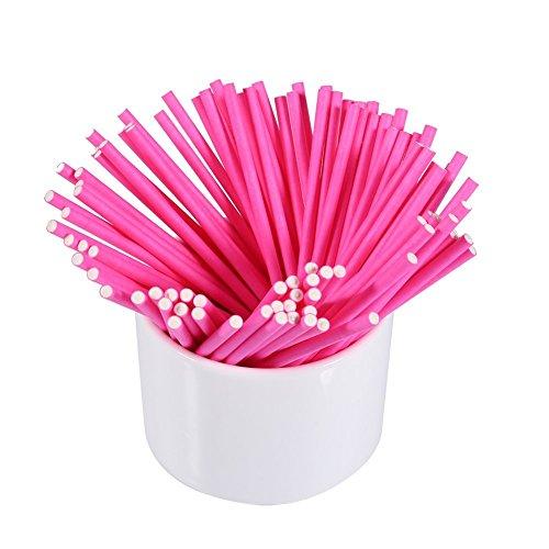 (Farbige Lollipop Sticks Craft 15,2cm, tankerstreet Paper Cake Pops Sticks Kit Dekorationen für Baby Dusche hausgemachten Kuchen Cookie Pops Marshmallow Candy Sticks Party Geschenktüten 100Stück (gelb) rose)