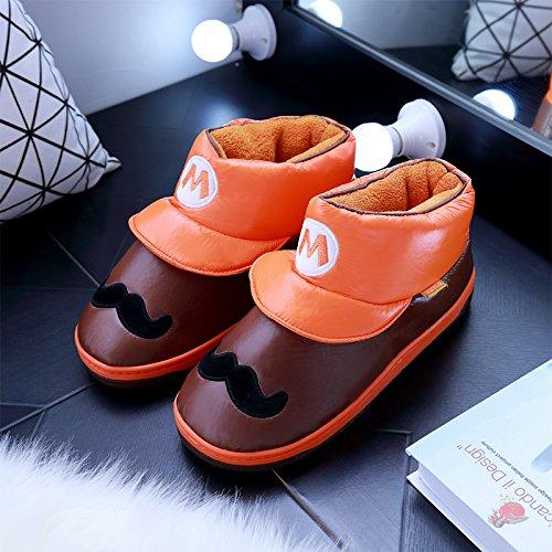 DogHaccd pantofole,Cartoon delizioso Pacchetto alta con cotone pantofole inverno impermeabile antiscivolo di uomini e donne le coppie soggiorno indoor scarpe caldo L'arancione1