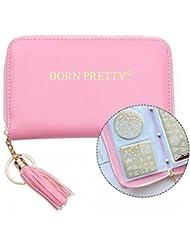 Born Pretty 1Pc Sac de Plaque de Stamping Ronde Carré Rectangulaire 24 Fentes Organisateur de Nail Art (Rose)