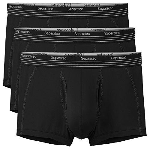 Separatec Herren schnelltrocknende Sports Boxershorts elastische Polyamid sportliche Unterhose Separate Beutel mit Eingriff, 3er Pack (XL, Schwarz)
