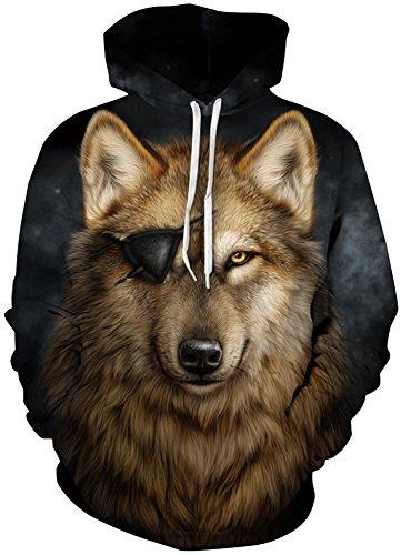 TDOLAH Herren Bunt Digitaldruck Kapuzenpullover 3D-Druck Hoodie Langarm Pullover Sweatshirts Piratenwolf