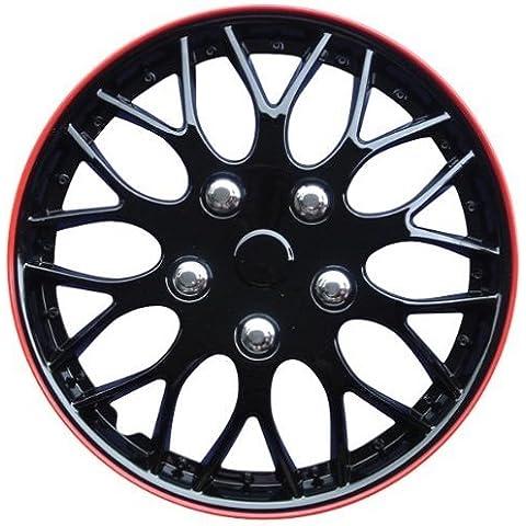 AutoStyle KT970-15MBK + R Set Copricerchio Missouri 15 Nero Opaco/Cerchio Rosso, 4 pezzi
