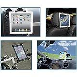 """Color Dreams® Soporte tablet coche, soporte tablet bicicleta moto [Kit 4 en 1]. Soporte coche tablet reposacabezas, rejilla ventilación y ventosa para salpicadero-parabrisas + Soporte tablet bicicleta o moto. Ajustable para diferentes tamaños de tablet, permite un montaje seguro y rápido a cualquier superficie para iPad 2/3/4/ , Ipad Air, Ipad Mini, Galaxy Tab/Tab S/Note Pro, Nexus 7, Kindle Fire HD 6/7 Fire HDX 7/8.9 Fire 2 y tablets pcs hasta 12"""""""