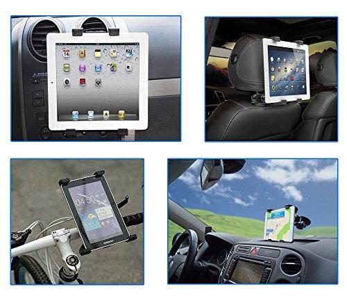 """Color Dreams® Supporto da Auto Universale, supporto tablet bici moto [Kit 4 in 1: 4 supporti il prezzo di uno]. Supporto tablet poggiatesta auto, Supporto griglia di ventilazione tablet auto, supporto tablet ventosa aspirazione parabrezza cruscotto, supporto tablet bici moto. Regolabile per diverse dimensioni di tablet, rotazione di 360° per iPad 2/3/4/ , Ipad Air, Ipad Mini, Galaxy Tab/Tab S/Note Pro, Nexus 7, Kindle Fire HD 6/7 Fire HDX 7/8.9 Fire 2 y tablets fino a 12"""""""