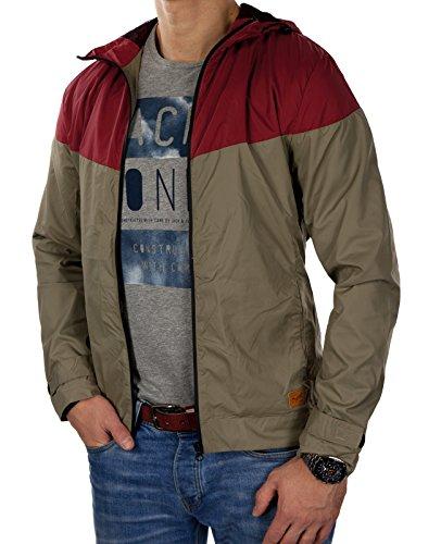JACK & JONES Herren Übergangsjacke jorHARLOW Windjacke leichte Jacke Rot (Herstellerfarbe: jorMAKE Rosewood)
