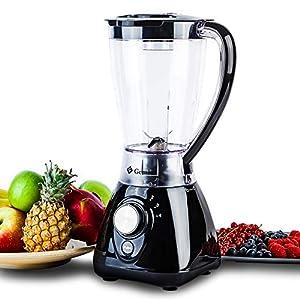 Gemlux Smoothie Maker, 430W Mixer, Standmixer Schwarz, 4 Geschwindigkeitstufen+Puls, 1.5L BPA-frei Behälter mit 4…