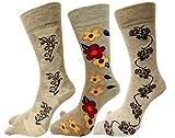 RC. ROYAL CLASS Women's Calf Length Skin Color Floral Design Thumb Woolen Socks(Pack of 3 Pairs)