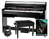 Classic Cantabile CP-A 320 SM E-Piano SET inkl. Bank, Kopfhörer, Schule (Digitalpiano 88 Tasten Hammermechanik, Kopfhöreranschlüsse , USB, Begleitautomatik, Piano für Anfänger, inkl. Noten) schwarz